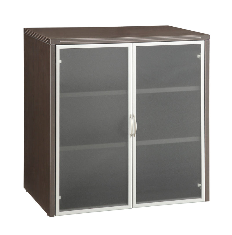 "Napa 37""H Storage Cabinet, Glass/Aluminum Doors"