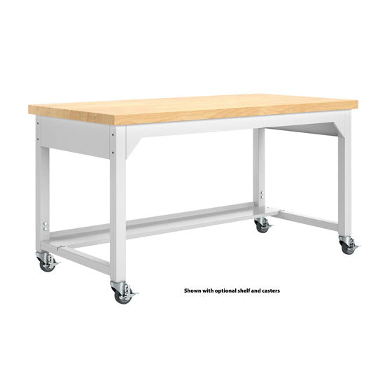 Adjustable Metal Table with Maple Top