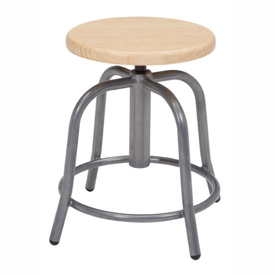 Adjustable Height Stool with Wood Seat and Gray Base - Acorn Office Products - National Public Seating
