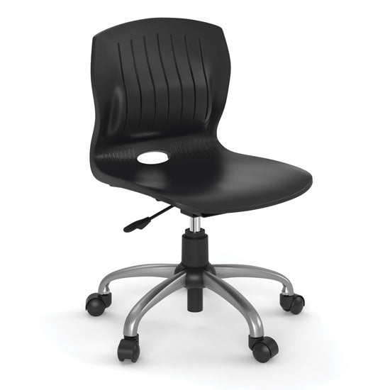 Armless Poly Swivel Chair with Chrome Frame - Acorn Office Products - Office Source