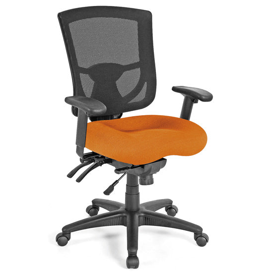 Multi-Function, Mid Back Chair with Black Base and Adjustable Arms