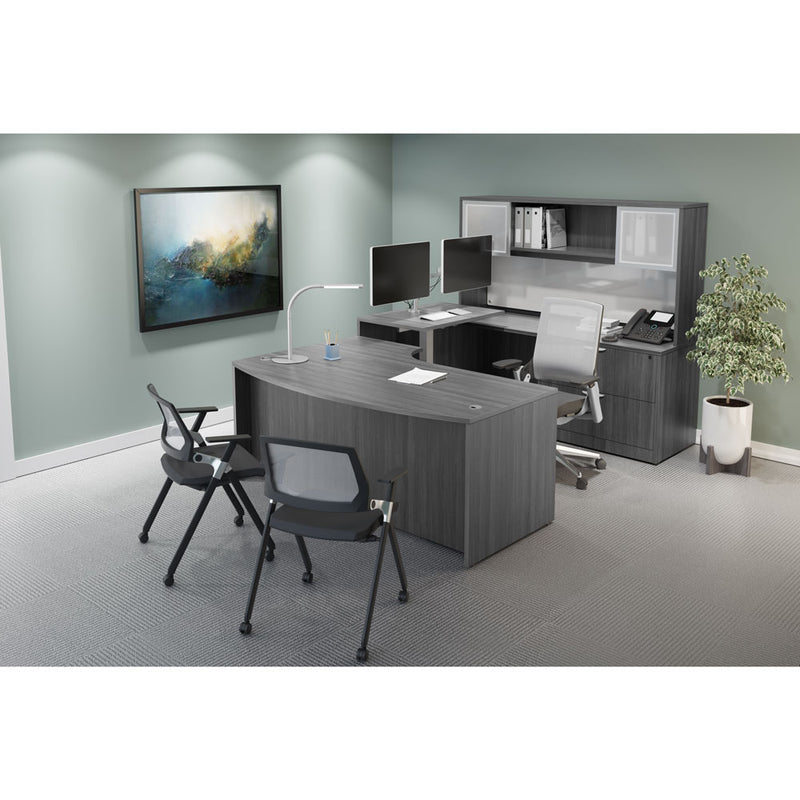 Bow Front Desk with Right Corner Extension - Acorn Office Products - Office Source