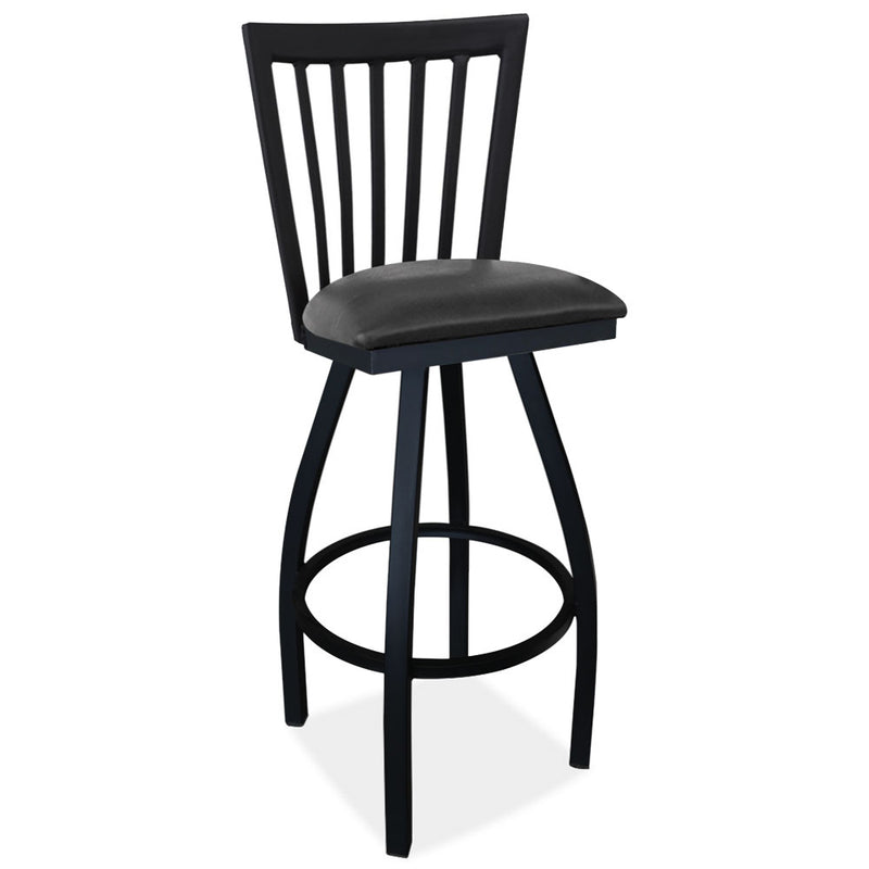 Cafe Height High Back Wood Chair with Cushioned Seat and Black Frame - Acorn Office Products - Office Source