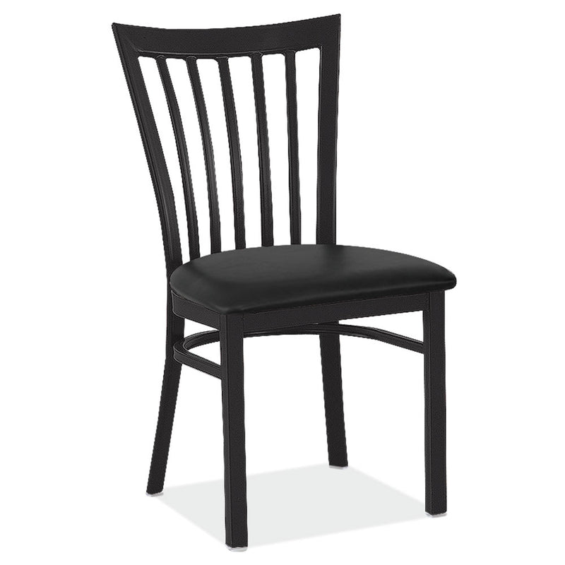 High Back Dining Chair with Black Wrinkle Steel Frame