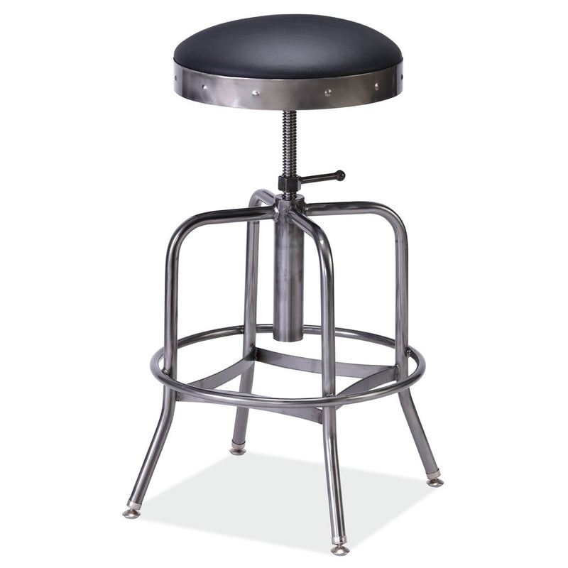 Padded Seat Adjustable Stool with Clearcoat Frame