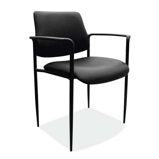 Guest Stack Chair with Arms and Black Frame