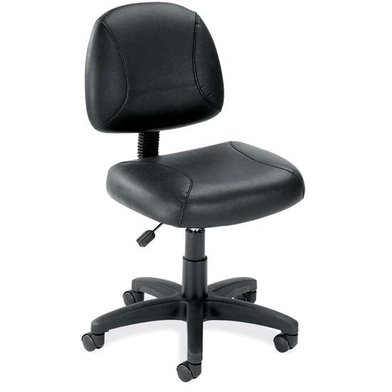 Black Leather Armless Deluxe Posture Chair with Black Frame - Acorn Office Products - Office Source