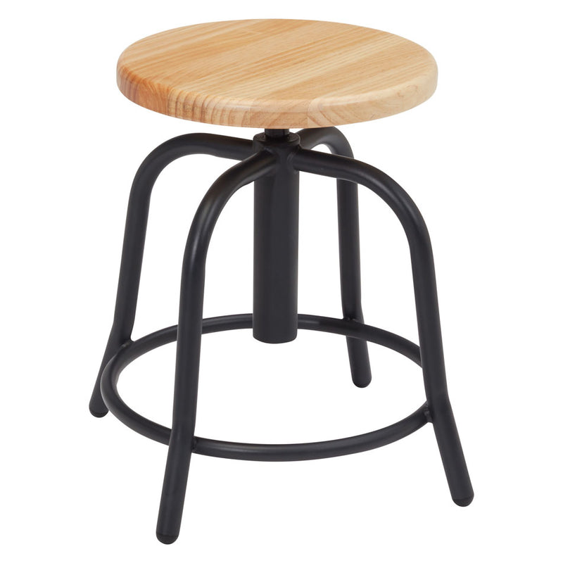 Adjustable Height Stool with Wood Seat and Black Base - Acorn Office Products - National Public Seating