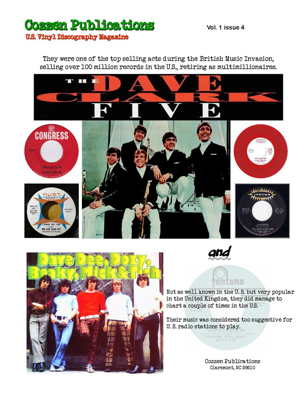 The Dave Clark Five & Dave Dee, Dozy, Beaky, Mick & Tich - U.S. Vinyl Discography Magazine - Vol. 1, Issue 4