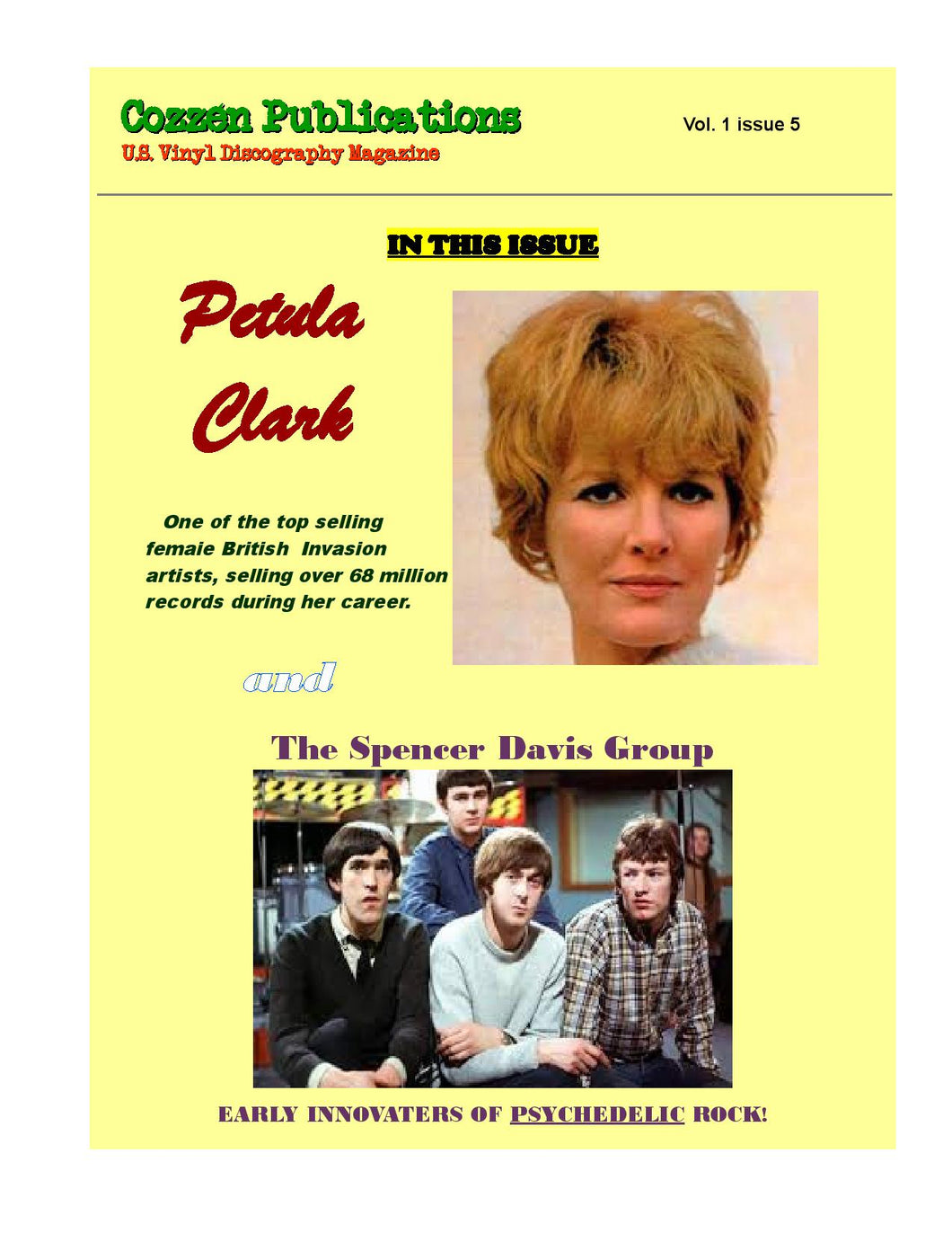 Petula Clark & The Spencer Davis Group - U.S. Vinyl Discography Magazine - Vol. 1, Issue 5