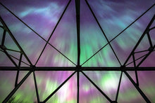 Load image into Gallery viewer, Purple and Green Aurora from a Trestle Bridge