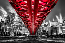 Load image into Gallery viewer, Under the Calgary Peacebridge in Winter