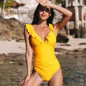 Yellow V-neck One-piece Swimsuit