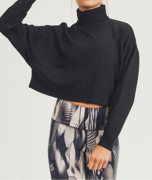 Black Sweater Cropped Turtle Neck