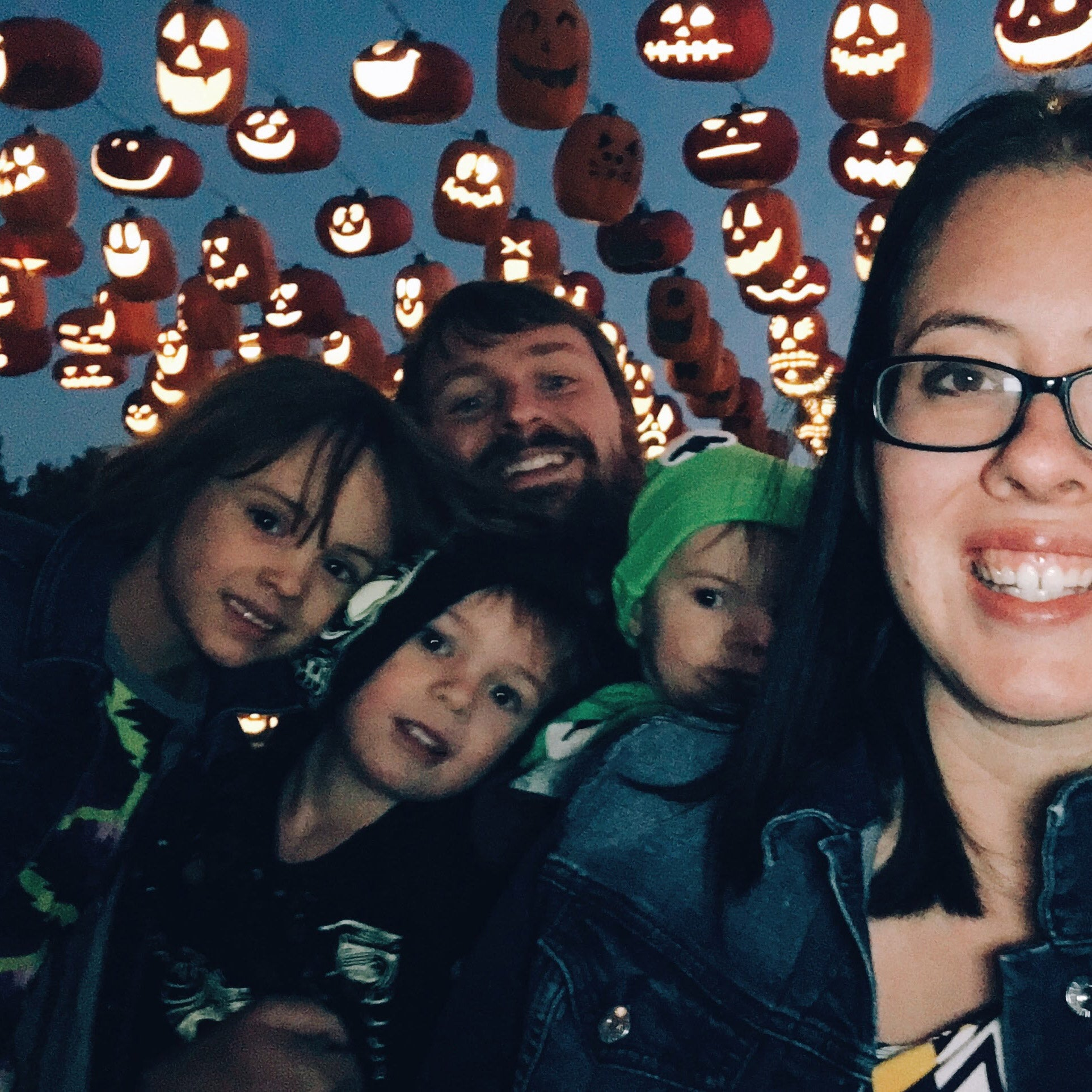 Family of five at Pumpkin Nights for Halloween