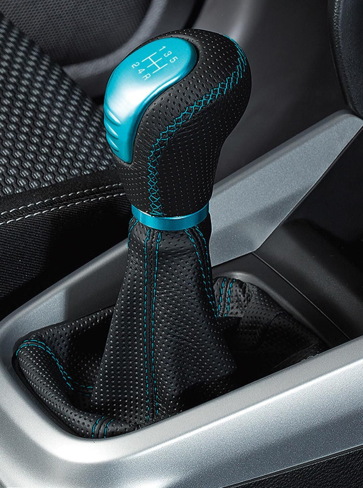 Suzuki Vitara Leather Gear Knob - Black with Turquoise (6 Speed Transmission)