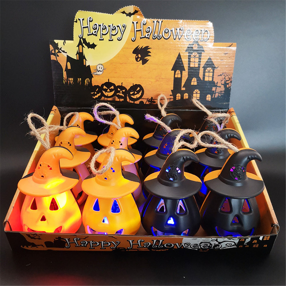 4Pcs Hollow Pumpkin with Hat LED Lights Lamp Lantern Halloween Party Bar Decor - onlineoutletuk