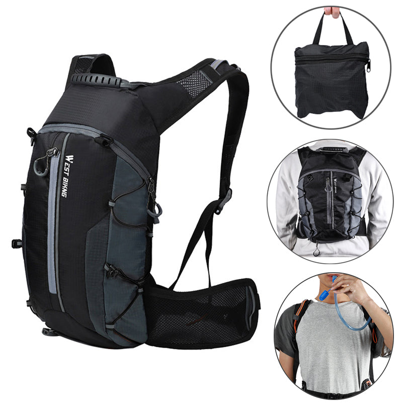 WEST BIKING 10L Foldable Waterproof Bike Backpack Hydration Water Backpack for Running Cycling Hiking - onlineoutletuk