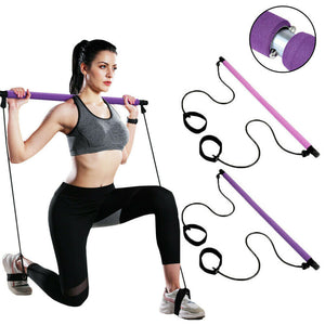 Yoga Pilates Bar Resistance Bands Adjustable Home Sport Fitness Exercise Stick - onlineoutletuk