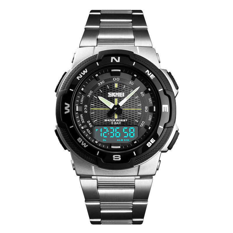 SKMEI 1370 Stainless Steel Waterproof Chrono Dual Digital Watch Business Style Men Wrist Watch