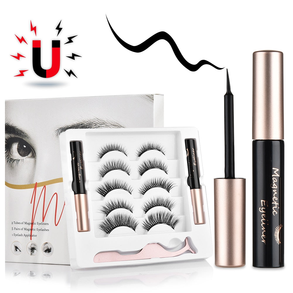 5 pairs Magnetic False Eyelashes Magnet Eyeliner Mink Fake Eyelash Waterproof Liquid Tweezers Set Long Lasting Eyelash Makeup