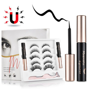 5 pairs Magnetic False Eyelashes Magnet Eyeliner Mink Fake Eyelash Waterproof Liquid Tweezers Set Long Lasting Eyelash Makeup - onlineoutletuk
