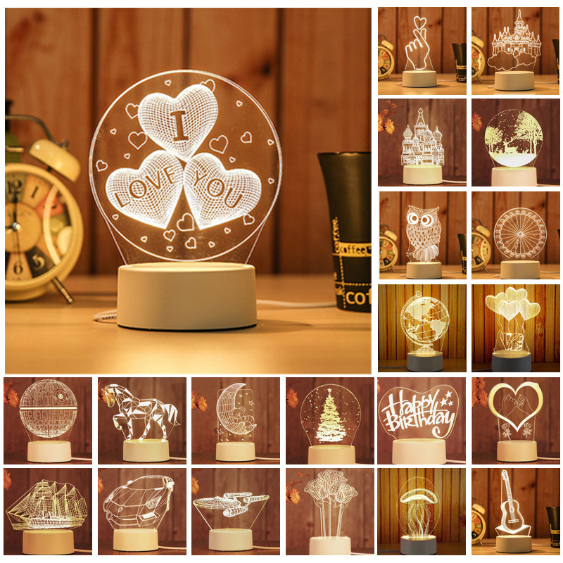 3D LED Night Light Creative Illusion Table Desk Lamp for Home Bedroom Kids Christmas Decorations Lights Gifts with US Plug AC220V Christmas Decorations Clearance Christmas Lights