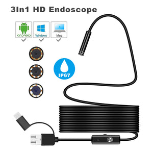 Bakeey 3 in 1 7mm 6Led Type C Micro USB Borescope Inspection Camera Soft Cable for Android PC - onlineoutletuk