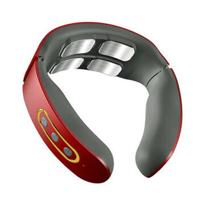 Electric Wireless Smart Neck Massager TENS Pulse Relieve Neck Pain 4 Head Vibrator Heating Cervical Massage Health Care - onlineoutletuk