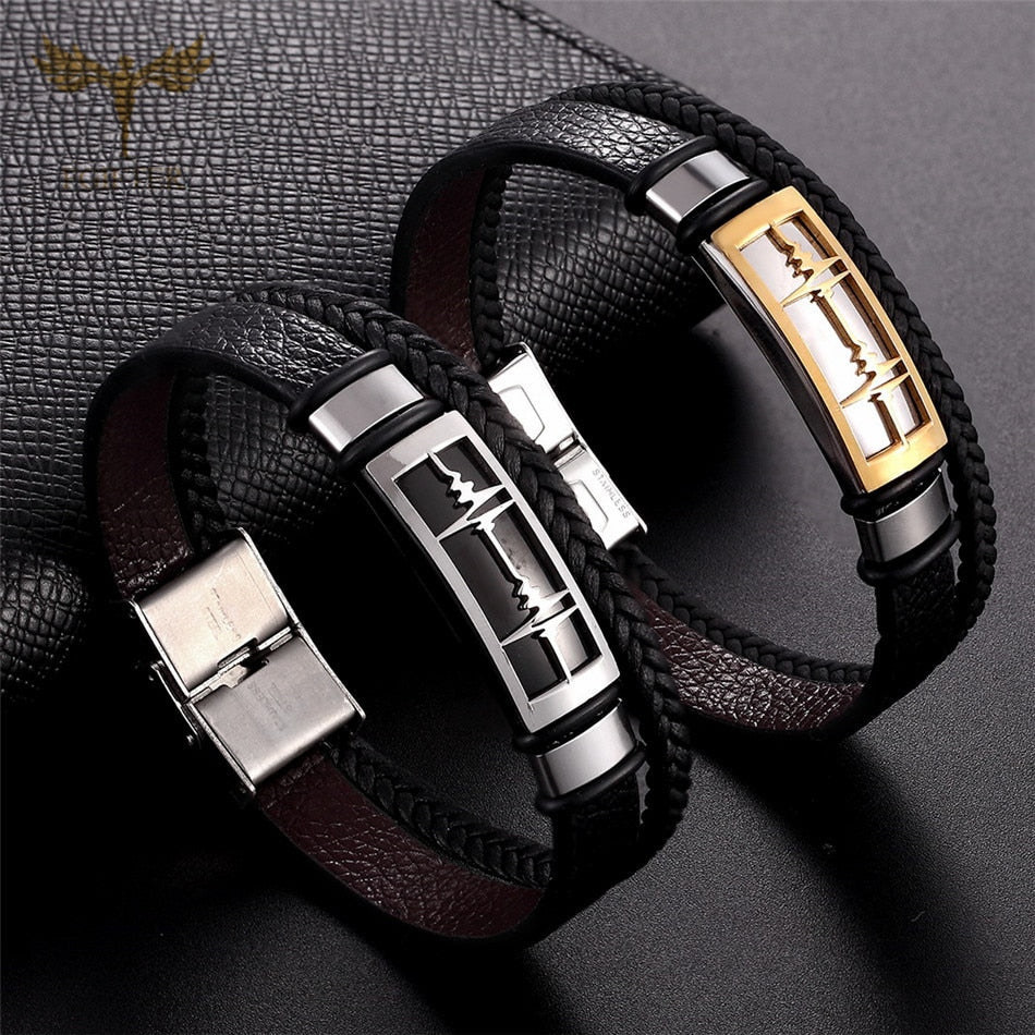 Multi Layer Black Leather Bracelets for Lovers Love Heart ECG Design Stainless Steel Cuff Bridal Bracelet Lovers' Couple Jewelry