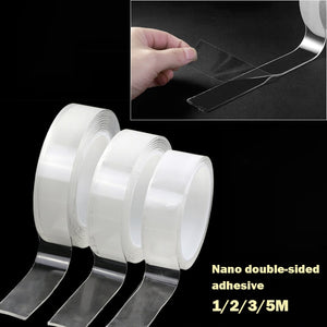 Transparent Magic Nano Tape Washable Reusable Double-Sided Tape Adhesive Nano-No Trace Paste Removable Glue Cleanable Household - onlineoutletuk