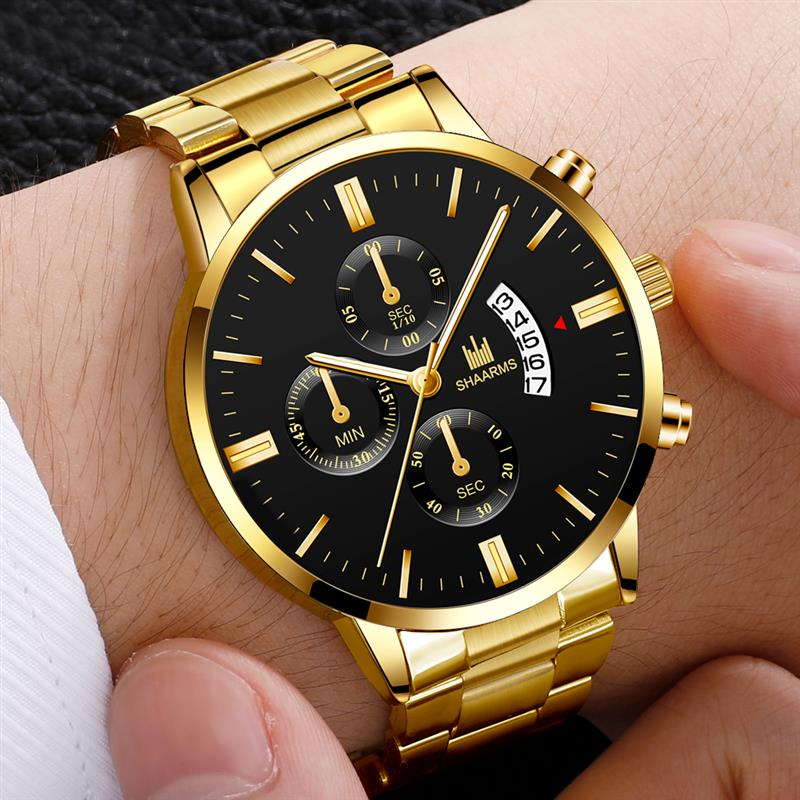 Brand luxury men's military quartz watch men's stainless steel gold calendar date watch male clock Relogio Direct fast shipping