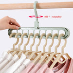 9-hole Clothes hanger organizer Space Saving Hanger multi-function folding magic hanger drying Racks Scarf clothes Storage