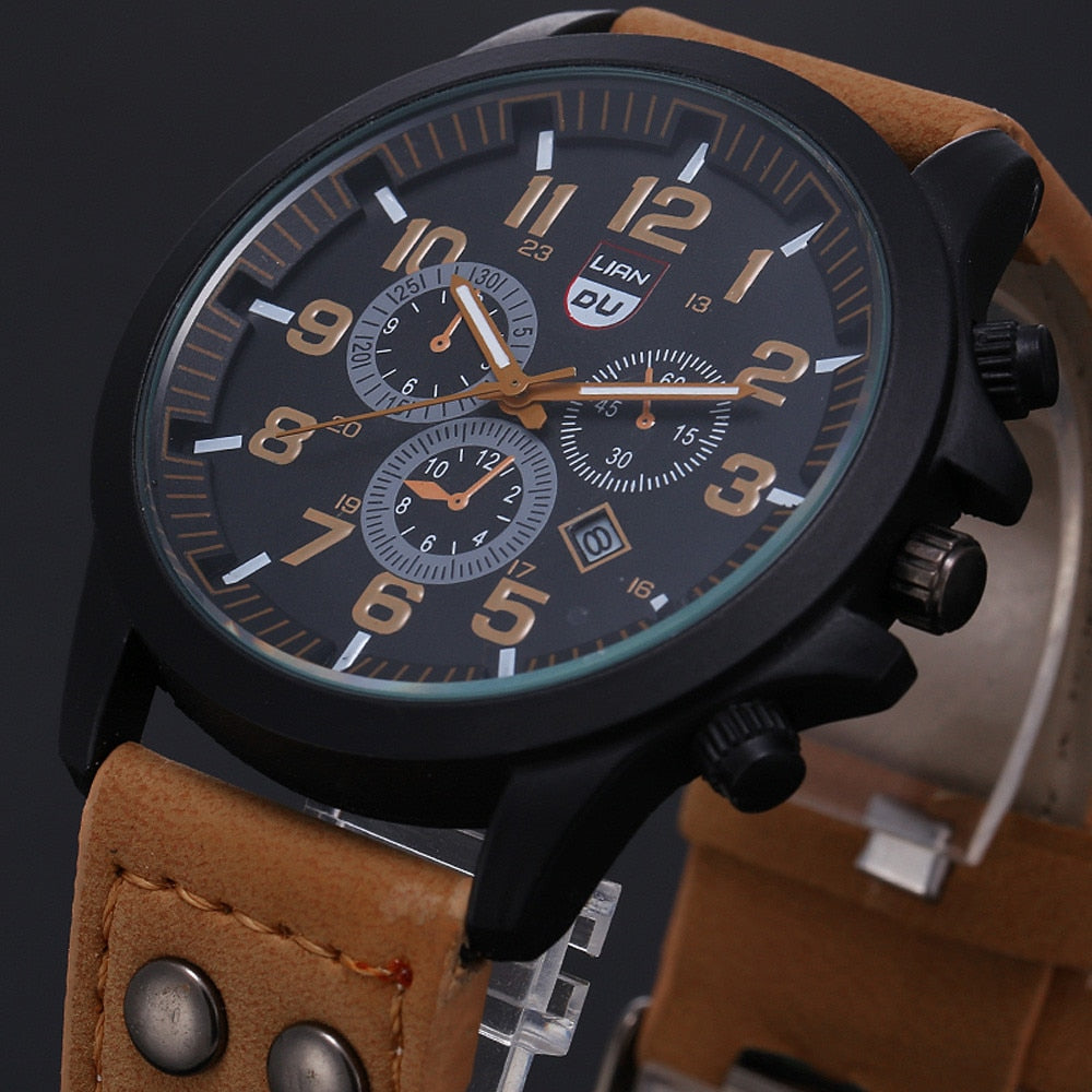 Relogio Masculino watch men calendar fashion sports stainless steel leather watch quartz business watch Reloj Hombre