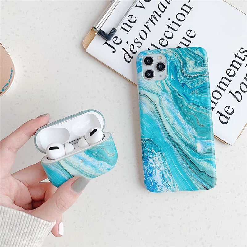 Blue glacier marble Case For iphone 11 11Pro X XR XS 7 8Plus SE for Apple airpods 1 2 Pro earphone case silicone case cover - onlineoutletuk