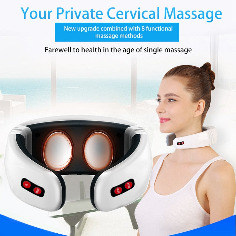 Electric Neck Massager & Pulse Back 6 Modes Power Control Far Infrared Heating Pain Relief Tool Health Care Relaxation Machine