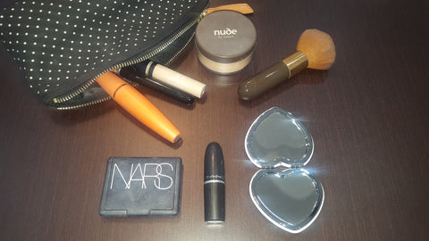 makeup bag, mac lipstick, nude , nars, mascara , foundation