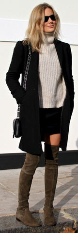 thigh high boots, winter wardrobe, coat , jumper