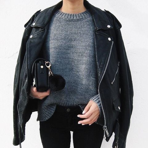 leather jacket, winter essentials, jumper, black , grey