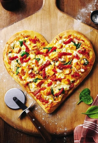 Heart shaped pizza Valentine's Day homemade pizza