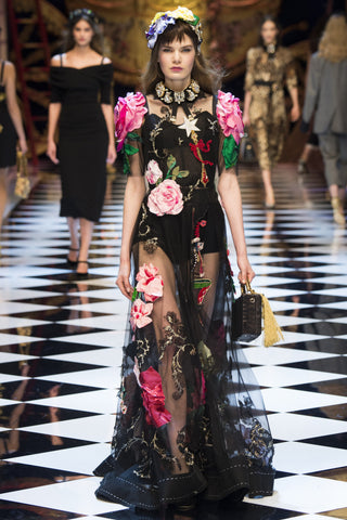 dolce gabbana floral dress fall fashion week