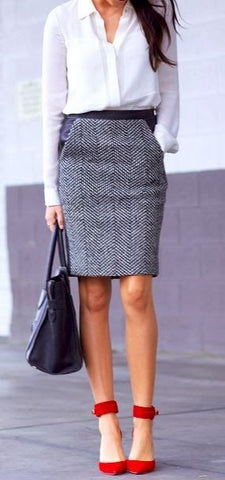 workwear , office, red shoes , pencil skirt