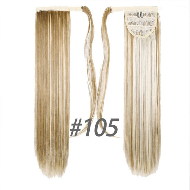 24inches Long Wrap On Synthetic Straight Ponytails for Women Natural Clip In Hair Extension Hairpieces Blonde False Hair - My Little Decors.com