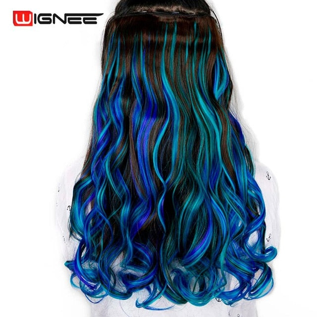 Wignee Colorful For Women 5 Clips In Hair Pieces High Temperature Heat Resistant Synthetic Fiber Hair Bundles Hair Extensions - My Little Decors.com