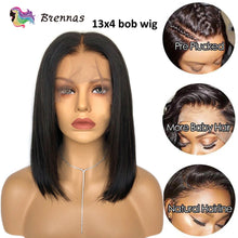 Load image into Gallery viewer, Short Bob Wig 13x6 Lace Front Wig Brazilian Straight bob Wig Pre Plucked Baby Hair non Remy human hair Lace Wig For Women 8-16'' - My Little Decors.com