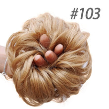 Load image into Gallery viewer, DIFEI Women Curly Scrunchie Chignon with Rubber Band Brown Gold Synthetic Hair Hairpiece Ring Wrap On Messy Donut Ponytail - My Little Decors.com