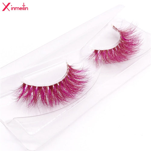 New 9D red mink color lashes wholesale natural long fluffy individual dramatic colorful false eyelashes Makeup Extension Tools - My Little Decors.com
