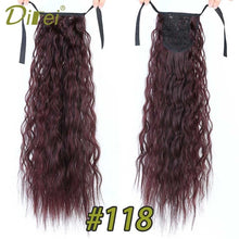 Load image into Gallery viewer, DIFEI Long Corn Curly Black Ponytail for Women Synthetic Ribbon Drawstring Ponytail Clip in Hair Extension - My Little Decors.com