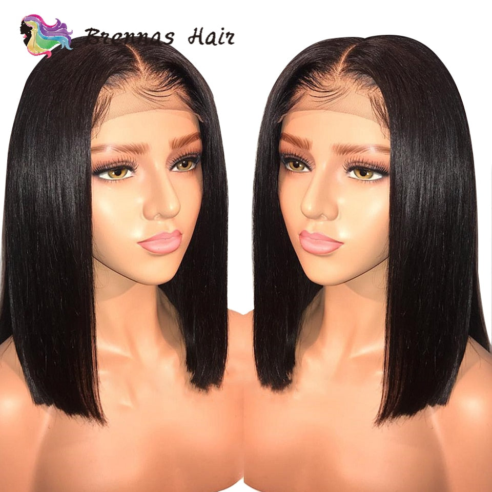 Short Bob Wig 13x6 Lace Front Wig Brazilian Straight bob Wig Pre Plucked Baby Hair non Remy human hair Lace Wig For Women 8-16'' - My Little Decors.com