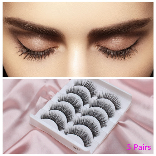 3D 5 Pairs False Eyelahes Extension Faux Mink Eye Lashes Extension Bundles Wispy Fake Individual Women Eyes Makeup - My Little Decors.com